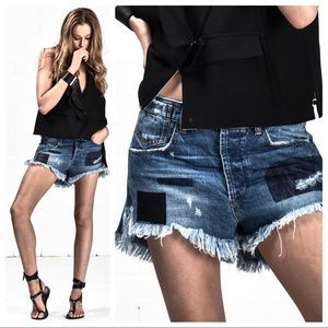 One Teaspoon Le Wolves Denim Frayed Hem Shorts